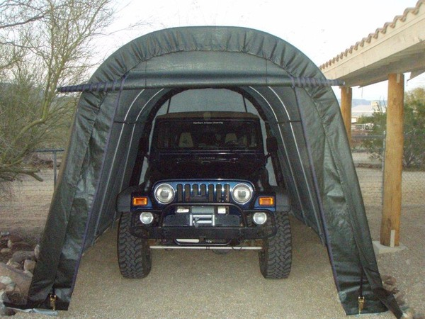 protect your vehicle with a portable garage this winter portable building store. Black Bedroom Furniture Sets. Home Design Ideas