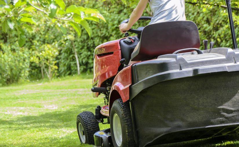 dad mowing lawn