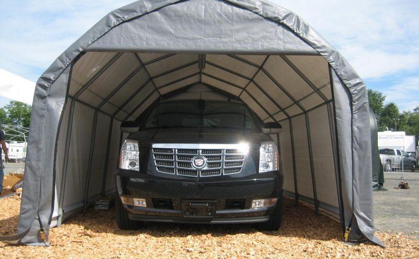truck in portable garage